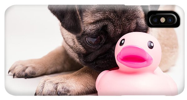 Pug iPhone XS Max Case - Adorable Pug Puppy With Pink Rubber Ducky by Edward Fielding