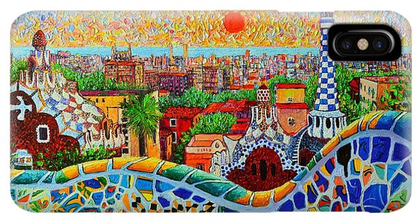 The Sun iPhone XS Max Case - Barcelona View At Sunrise - Park Guell  Of Gaudi by Ana Maria Edulescu