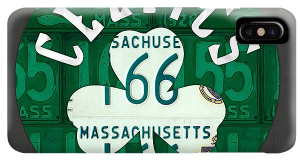 Celtics iPhone XS Max Case - Boston Celtics Basketball Team Retro Logo Vintage Recycled Massachusetts License Plate Art by Design Turnpike