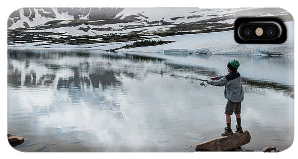Knit Hat iPhone XS Max Case - Boys Fish In Superior Lake During A Six by Beth Wald