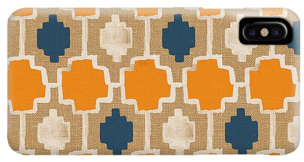Abstract iPhone XS Max Case - Burlap Blue And Orange Design by Linda Woods