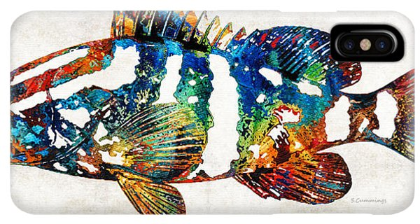 Scuba Diving iPhone XS Max Case - Colorful Grouper 2 Art Fish By Sharon Cummings by Sharon Cummings