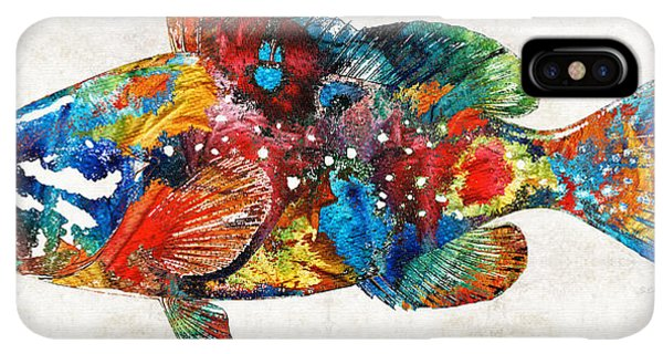Scuba Diving iPhone XS Max Case - Colorful Grouper Art Fish By Sharon Cummings by Sharon Cummings