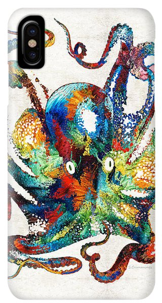 Scuba Diving iPhone XS Max Case - Colorful Octopus Art By Sharon Cummings by Sharon Cummings