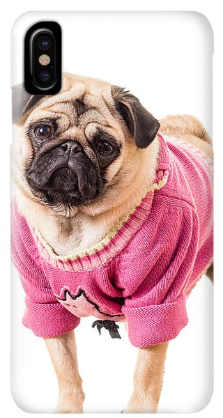 Pug iPhone XS Max Case - Cute Pug Wearing Sweater by Edward Fielding
