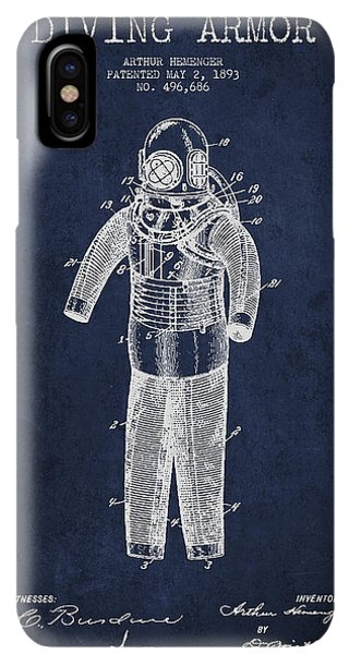 Scuba Diving iPhone XS Max Case - Diving Armor Patent Drawing From 1893 by Aged Pixel