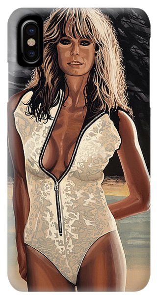The Sun iPhone XS Max Case - Farrah Fawcett Painting by Paul Meijering