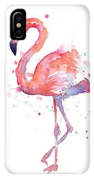 iPhone XS Max Case - Flamingo Watercolor by Olga Shvartsur