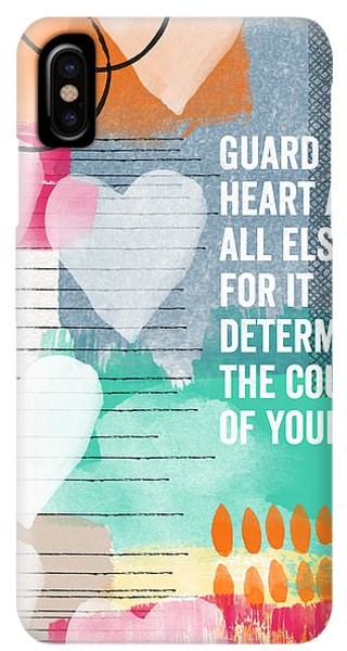 Christian iPhone XS Max Case - Guard Your Heart- Contemporary Scripture Art by Linda Woods