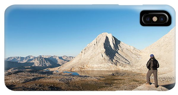 Knit Hat iPhone XS Max Case - Hiker Looking Over Royce Lakes by Josh Miller Photography