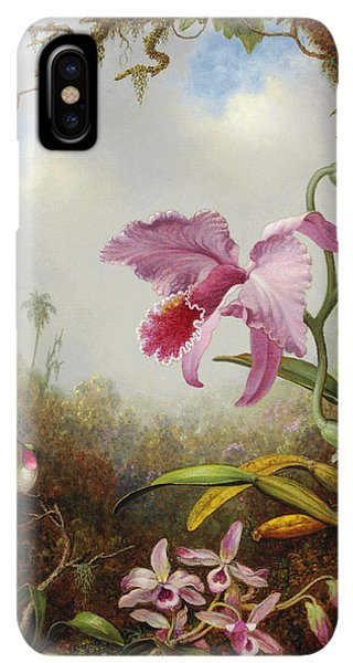 Humming Bird iPhone XS Max Case - Hummingbird And Two Types Of Orchids by Martin Johnson Heade