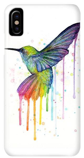 iPhone XS Max Case - Hummingbird Of Watercolor Rainbow by Olga Shvartsur