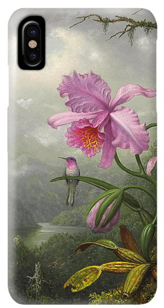 Humming Bird iPhone XS Max Case - Hummingbird Perched On The Orchid Plant by Martin Johnson Heade