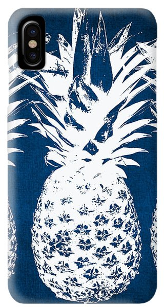iPhone XS Max Case - Indigo And White Pineapples by Linda Woods
