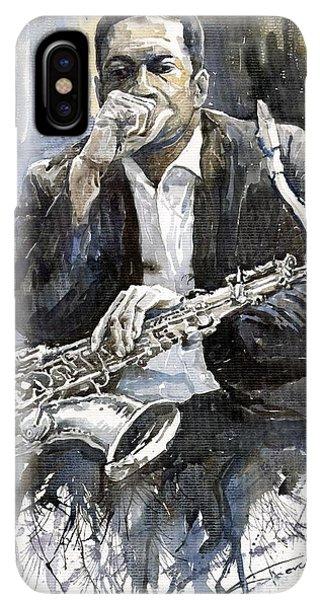 iPhone XS Max Case - Jazz Saxophonist John Coltrane Yellow by Yuriy Shevchuk
