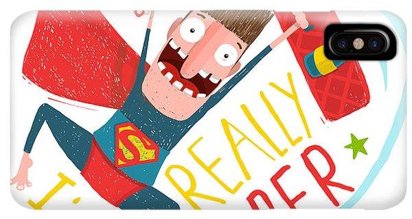 Achievement iPhone XS Max Case - Kite Surfing Caricature Superhero by Popmarleo