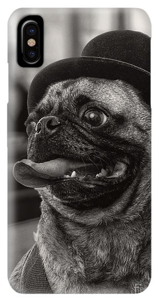 Pug iPhone XS Max Case - Last Call Pug Greeting Card by Edward Fielding