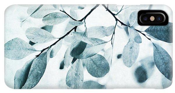 iPhone XS Max Case - Leaves In Dusty Blue by Priska Wettstein