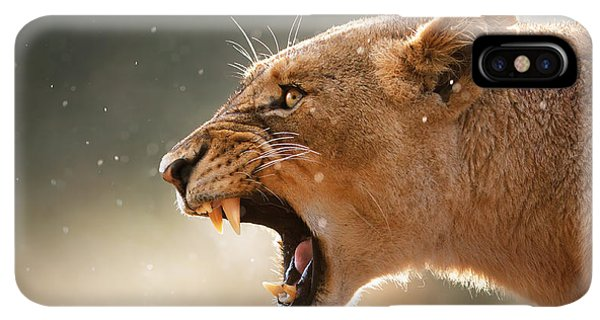Africa iPhone XS Max Case - Lioness Displaying Dangerous Teeth In A Rainstorm by Johan Swanepoel