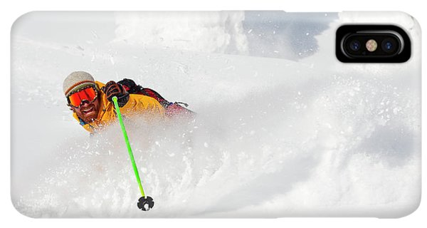 Knit Hat iPhone XS Max Case - Male Skier Makes A Deep Powder Turn by Craig Moore
