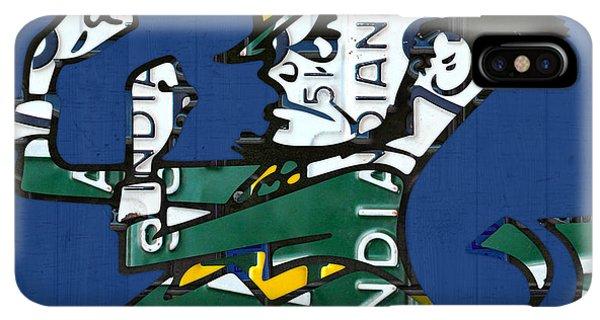 St. Patricks Day iPhone XS Max Case - Notre Dame Fighting Irish Leprechaun Vintage Indiana License Plate Art  by Design Turnpike