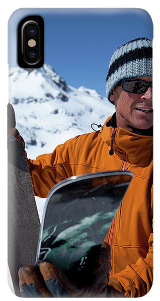 Knit Hat iPhone XS Max Case - One Backcountry Skier Putting Skins by Trevor Clark