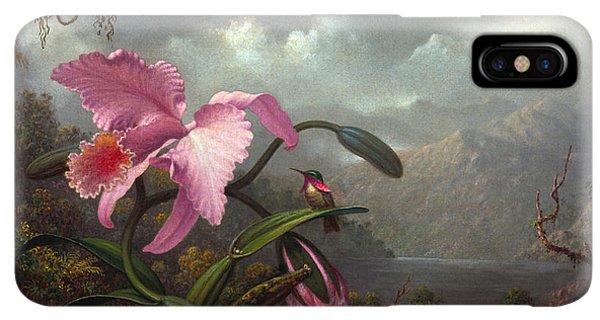 Humming Bird iPhone XS Max Case - Orchid And Hummingbird by Martin Johnson Heade