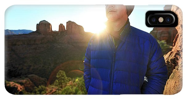 Knit Hat iPhone XS Max Case - Portrait Of A Male Hiker In Sedona by Kyle Ledeboer