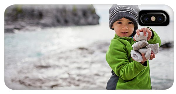 Knit Hat iPhone XS Max Case - Portrait Of Little Boy Standing At Lake by Steve Glass
