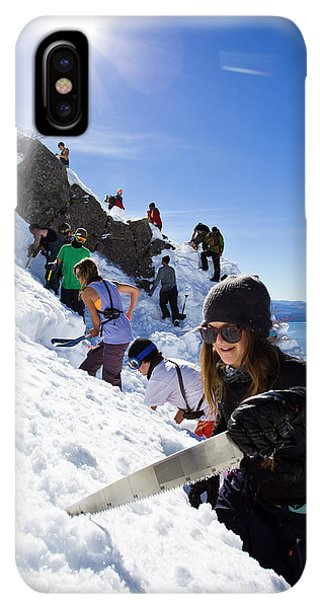 Knit Hat iPhone XS Max Case - Professional Skier Using A Snow Saw by Ben Girardi