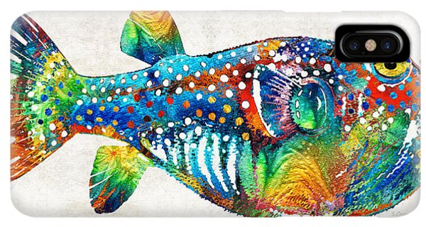 Scuba Diving iPhone XS Max Case - Puffer Fish Art - Blow Puff - By Sharon Cummings by Sharon Cummings