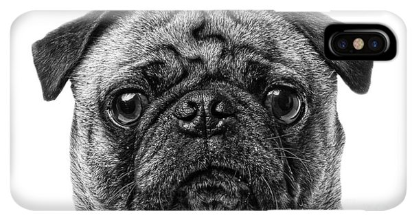 Pug iPhone XS Max Case - Pug Dog Black And White by Edward Fielding