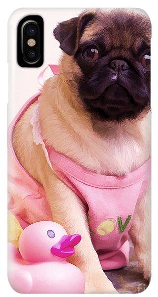Pug iPhone XS Max Case - Pug Puppy Bath Time by Edward Fielding