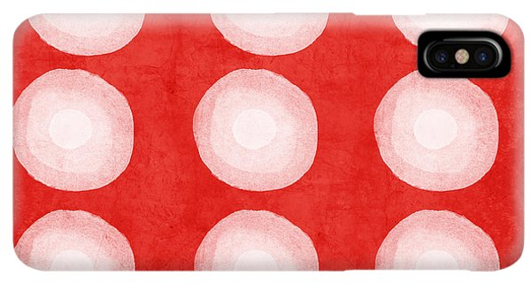 Abstract iPhone XS Max Case - Red And White Shibori Circles by Linda Woods
