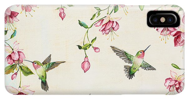 Humming Bird iPhone XS Max Case - Rubys Among The Fuchsias by Jean Plout
