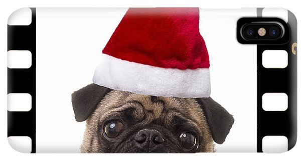 Pug iPhone XS Max Case - Santa Pug - Canine Christmas by Edward Fielding