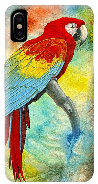 South America iPhone XS Max Case - Scarlet Macaw In Abstract by Paul Krapf