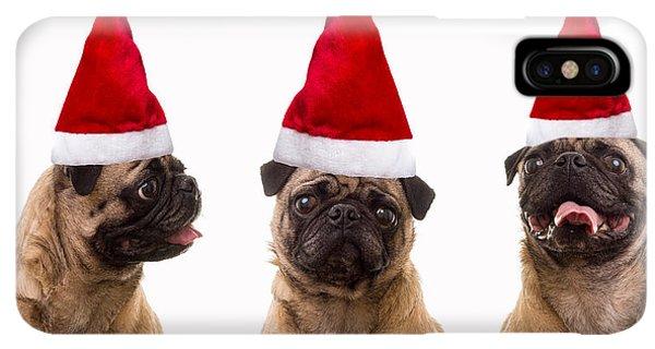Pug iPhone XS Max Case - Seasons Greetings Christmas Caroling Pug Dogs Wearing Santa Claus Hats by Edward Fielding