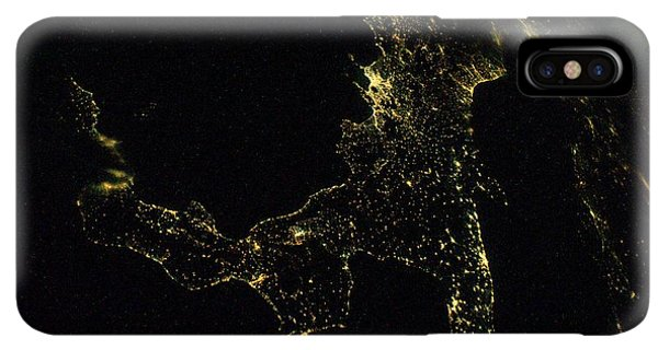 International Space Station iPhone XS Max Case - Southern Italy At Night From Space by Nasa/science Photo Library