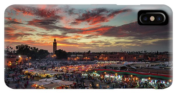 Africa iPhone XS Max Case - Sunset Over Jemaa Le Fnaa Square In Marrakech, Morocco by Dan Mirica