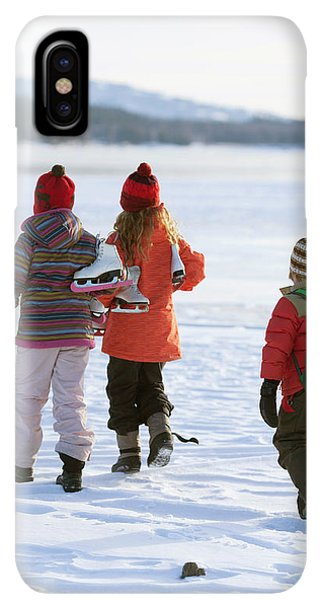 Knit Hat iPhone XS Max Case - Three Kids Heading Out To Ice Skate by Woods Wheatcroft
