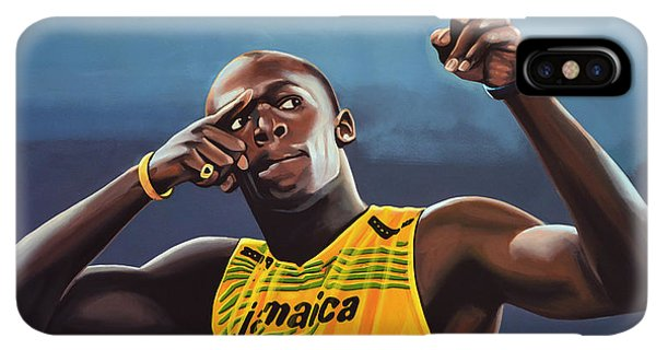 The iPhone XS Max Case - Usain Bolt Painting by Paul Meijering