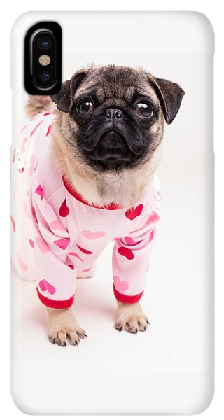 Pug iPhone XS Max Case - Valentine's Day - Adorable Pug Puppy In Pajamas by Edward Fielding