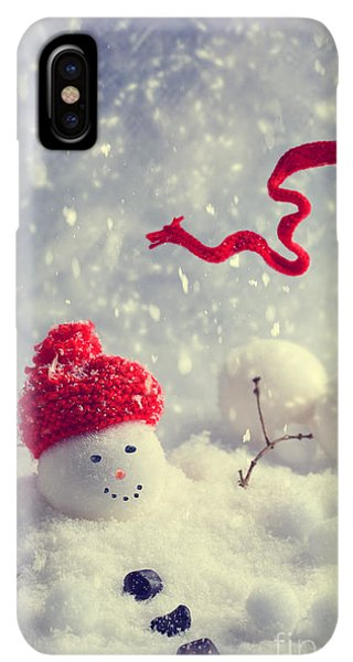 Knit Hat iPhone XS Max Case - Winter Snowman by Amanda Elwell