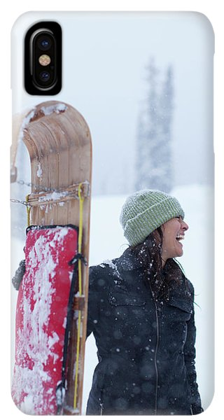 Knit Hat iPhone XS Max Case - Woman Standing With Toboggan Sled by Woods Wheatcroft