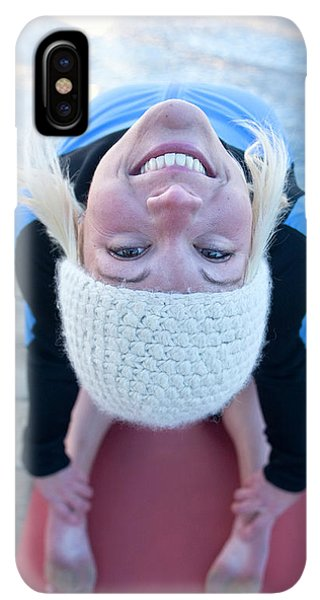 Knit Hat iPhone XS Max Case - Young Woman Doing Yoga On Pier In Tahoe by Justin Bailie