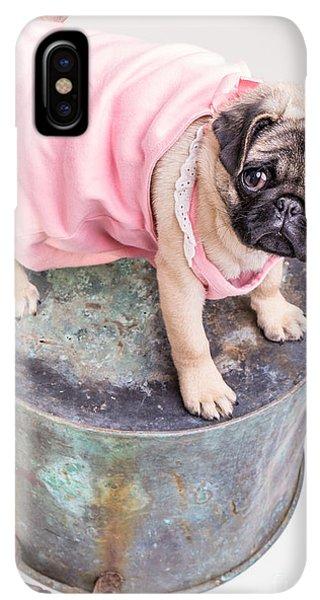 Pug iPhone XS Max Case - Pug Puppy Pink Sun Dress by Edward Fielding