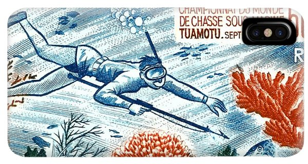 Scuba Diving iPhone XS Max Case -  1965 French Polynesia Spearfishing Postage Stamp by Retro Graphics