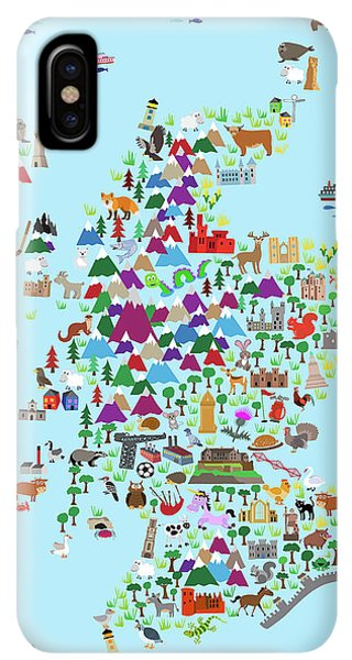 Scotland iPhone XS Max Case - Animal Map Of Scotland For Children And Kids by Michael Tompsett