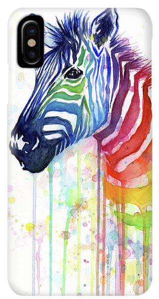 iPhone XS Max Case - Rainbow Zebra - Ode To Fruit Stripes by Olga Shvartsur